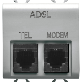 DOUBLE TELEPHONE CONNECTOR - ADSL FILTER - RJ11 FOR TELEPHONE/MODEM - 2 MODULES - TITANIUM - CHORUS