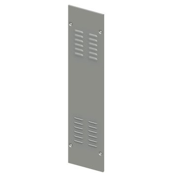 Pair of aerated side panels for wall-mounting distribution boards in painted sheet steel