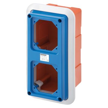 Boxes with frame for flush-mounting with flanged cover fitted for 2 lids - IP55