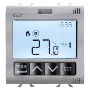 THERMOSTAT AVEC GESTION DE L'HUMIDITÉ - KNX - 2 MODULES - TITANE - CHORUS