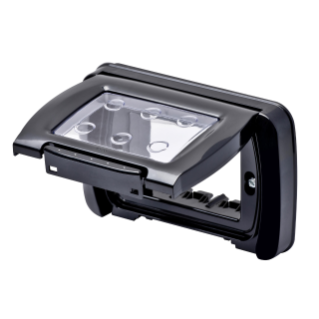 WATERTIGHT PLATE - SELF-SUPPORTING - 4 GANG - TONER BLACK - SYSTEM