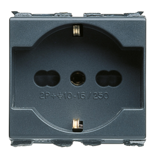 ITALIAN/GERMAN STANDARD SOCKET-OUTLET 250V ac - 2P+E 16A DUAL AMPERAGE - P40 - 1 MODULE - PLAYBUS