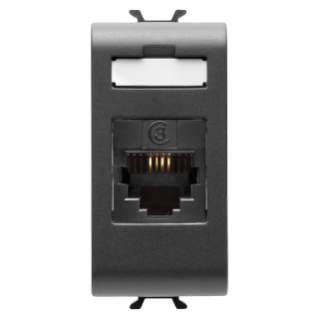 INTERNATIONAL STANDARD TELEPHONE SOCKET - RJ11 IN OUT - IMPACT TOOL - 1 MODULE - BLACK - CHORUS