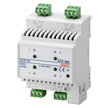 KNX 4-channel 16AX actuator - IP20 - DIN rail mounting