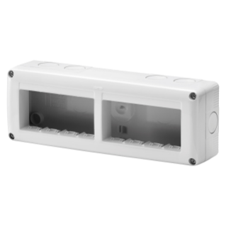 PROTECTED ENCLOSURE FOR SYSTEM DEVICES - HORIZONTAL MULTIPLE - 8 GANG - MODULE 4x2 - RAL 7035 GREY - IP40