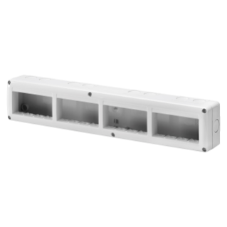 PROTECTED ENCLOSURE FOR SYSTEM DEVICES - HORIZONTAL MULTIPLE - 16 GANG - MODULE 4x4 - RAL 7035 GREY - IP40