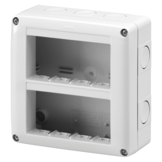 PROTECTED ENCLOSURE FOR SYSTEM DEVICES - VERTICAL MULTIPLE - 8 GANG - MODULE 4x2 - RAL 7035 GREY - IP40
