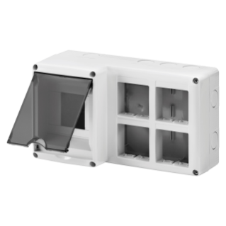 PROTECTED ENCLOSURE FOR COMBINED INSTALLATION OF MODULAR DEVICES DIN AND SYSTEM - 4 DIN MODULES - 8 SYSTEM MODULES - MODULE 2X4 - IP40 - GREY RAL 7035