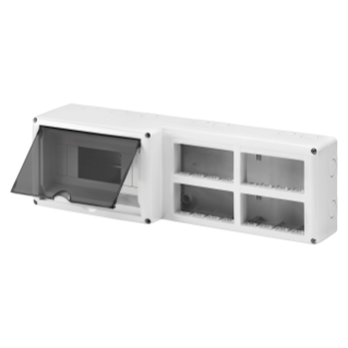 PROTECTED ENCLOSURE FOR COMBINED INSTALLATION OF MODULAR DEVICES DIN AND SYSTEM - 8 DIN MODULES - 16 SYSTEM MODULES - MODULE 4X4 - IP40-GREY RAL 7035