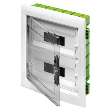 Modular enclosures and distribution boards with windowed panel and extractable frame predisposed for housing terminal blocks - White RAL 9016 - smoked door