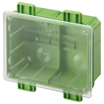 Junction and connection box for side-by-side assembly with DIN rail integrated on the back-mounting box - Transparent lid