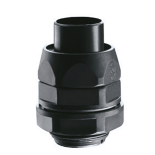 STRAIGHT REVOLVING COUPLING DEVICE PG PITCH - RDPG - IP54 - SHEATH Ø 22MM - PG PITCH 21 - BLACK RAL 9005