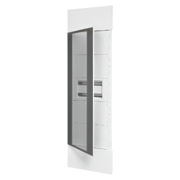 System column front kit with door in smoked transparent glass, finish panels in white metal RAL 9003, 1 underdoor enclosure 40 M and underdoor panels white RAL 9003