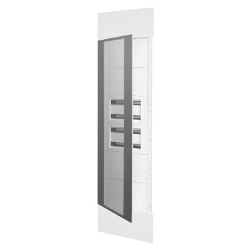 System column front kit with door in smoked transparent glass, finish panels in white metal RAL 9003, 2 underdoor enclosures 40 M and underdoor panels white RAL 9003
