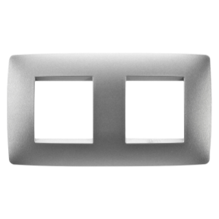 ONE INTERNATIONAL PLATE - IN PAINTED TECHNOPOLYMER - 2+2 GANG HORIZONTAL - TITANIUM - CHORUS