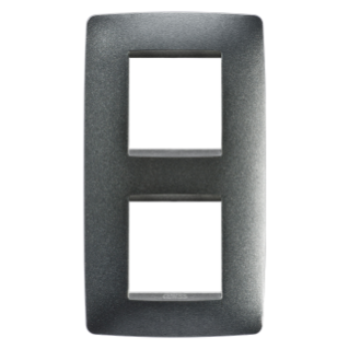ONE INTERNATIONAL PLATE - IN PAINTED TECHNOPOLYMER - 2+2 GANG VERTICAL CENTRE DISTANCE 71mm - SLATE - CHORUS