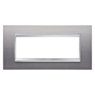 PLAQUE LUX RECTANGULAIRE - EN MÉTAL - 6 MODULES - INOX BROSSÉ - CHORUS