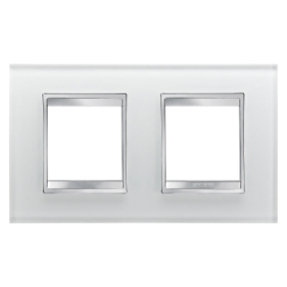 LUX INTERNATIONAL PLATE - IN GLASS - 2+2 GANG HORIZONTAL - ICE - CHORUS