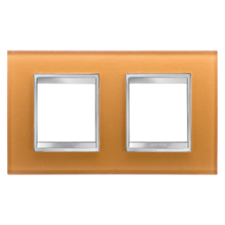 LUX INTERNATIONAL PLATE - IN GLASS - 2+2 GANG HORIZONTAL - OCHRE - CHORUS