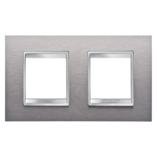 LUX INTERNATIONAL PLATE - IN METAL - 2+2 GANG HORIZONTAL - BRUSHED STAINLESS STEEL - CHORUS