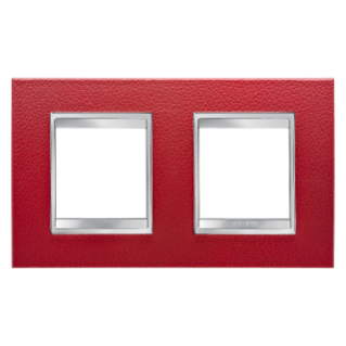 LUX INTERNATIONAL PLATE - IN TECHNOPOLYMER LEATHER FINISHING - 2+2 GANG HORIZONTAL - RUBY - CHORUS