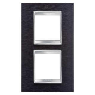 LUX INTERNATIONAL PLATE - IN METAL - 2+2 GANG VERTICAL CENTRE DISTANCE 71mm - ALUMINIUM BLACK - CHORUS