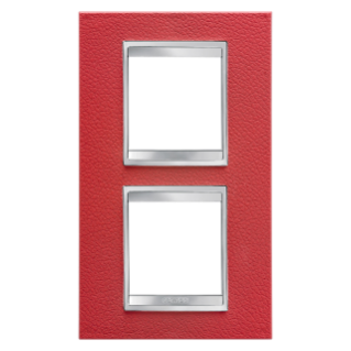 LUX INTERNATIONAL PLATE - IN TECHNOPOLYMER LEATHER FINISHING - 2+2 GANG VERTICAL CENTRE DISTANCE 71mm - RUBY - CHORUS