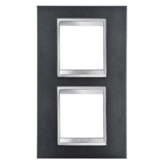 LUX INTERNATIONAL PLATE - IN PAINTED TECHNOPOLYMER - 2+2 GANG VERTICAL CENTRE DISTANCE 71mm - SLATE - CHORUS