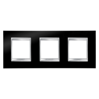 LUX INTERNATIONAL PLATE - IN TECHNOPOLYMER - 2+2+2 GANG HORIZONTAL - TONER BLACK - CHORUS