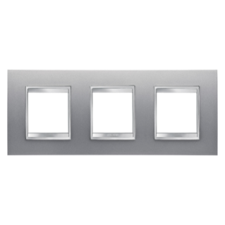 LUX INTERNATIONAL PLATE - IN PAINTED TECHNOPOLYMER - 2+2+2 GANG HORIZONTAL - TITANIUM - CHORUS