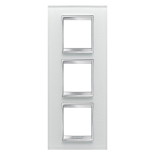 LUX INTERNATIONAL PLATE - IN GLASS - 2+2+2 GANG VERTICAL - ICE - CHORUS