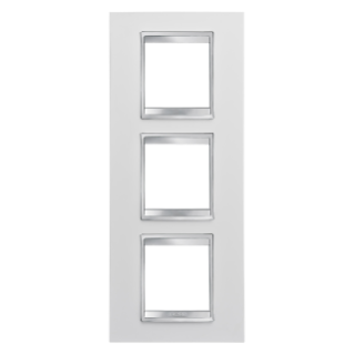 LUX INTERNATIONAL PLATE - IN TECHNOPOLYMER - 2+2+2 GANG VERTICAL - WHITE - CHORUS