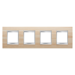 LUX INTERNATIONAL PLATE - IN TECHNOPOLYMER WOOD FINISHING - 2+2+2+2 GANG HORIZONTAL - MAPLE - CHORUS