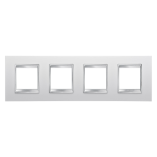 LUX INTERNATIONAL PLATE - IN TECHNOPOLYMER - 2+2+2+2 GANG HORIZONTAL - MILK WHITE - CHORUS
