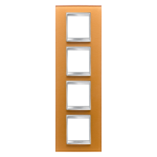LUX INTERNATIONAL PLATE - IN GLASS - 2+2+2+2 GANG VERTICAL - OCHRE - CHORUS