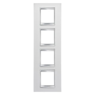 LUX INTERNATIONAL PLATE - IN TECHNOPOLYMER - 2+2+2+2 GANG VERTICAL - WHITE - CHORUS