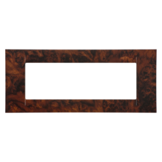 VIRNA PLATE - IN TECHNOPOLYMER - 6 GANG - ENGLISH WALNUT - SYSTEM