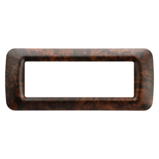 TOP SYSTEM PLATE - IN TECHNOPOLYMER - 6 GANG - ENGLISH WALNUT - SYSTEM