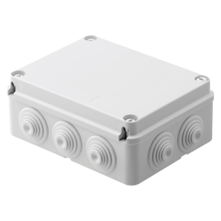 JUNCTION BOX WITH PLAIN SCREWED LID - IP55 - INTERNAL DIMENSIONS 190X140X70 - WALLS WITH CABLE GLANDS - GWT960ºC - GREY RAL 7035