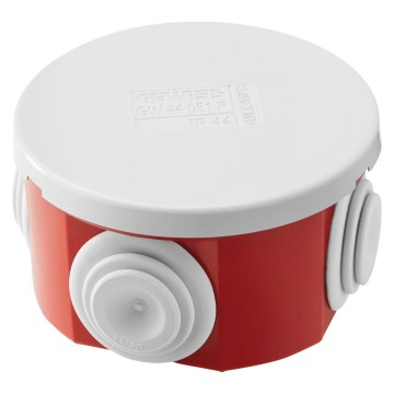 Junction boxes with plain press-on lid - IP44 Box base Red RAL 3000, lid and cable gland Grey RAL 7035