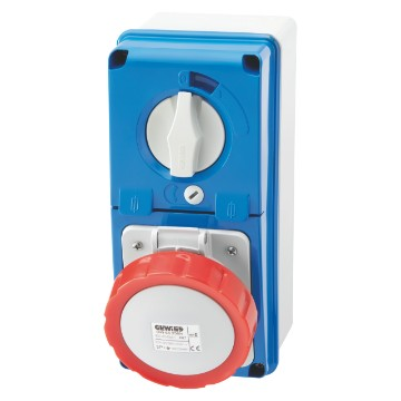 Interlocked vertical socket-outlets with bottom with rotary switch and fuse-holder base - 50/60Hz - IP67