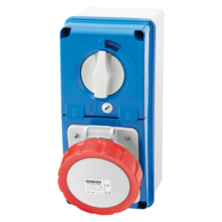 VERTICAL FIXED INTERLOCKED SOCKET OUTLET - WITH BOTTOM - WITH FUSE-HOLDER BASE - 2P+E 16A 380-415V - 50/60HZ 9H - IP67