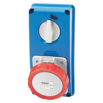 Interlocked vertical socket-outlets with rotary switch without fuse-holder base without bottom - 50/60Hz - IP67