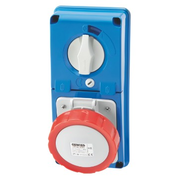 Interlocked vertical socket-outlets without bottom with rotary switch and fuse-holder base - 50/60Hz - IP67
