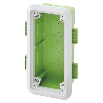 Box with frame for lightweight and plasterboard walls, for the flush-mounting assembly of vertical socket-outlets - IP55