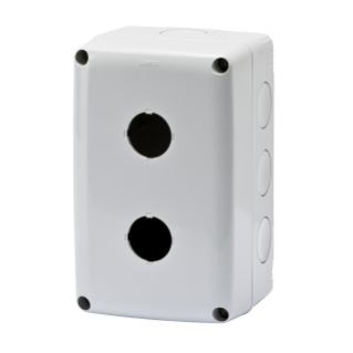 EMPTY ENCLOSURE FOR PUSH-BUTTONS, CONTROLS AND INDICATORS - 2 GANG - DIAMETER 22mm - GREY RAL 7035  LID - IP66