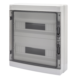 DISTRIBUTION BOARD WITH PANELS WITH WINDOW AND EXTRACTABLE FRAME - WITH TERMINAL BLOCK N 2 x [(3X16)+(17X10)] E 2 x [(3X16)+(17X10)] - (18X2) 36M IP65