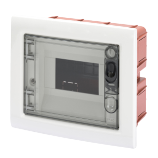 FLUSH-MOUNTING ENCLOSURE WITH SMOKED TRANSPARENT DOOR 6 MODULES IP40