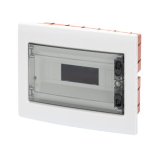 FLUSH-MOUNTING ENCLOSURE WITH SMOKED TRANSPARENT DOOR WITH EXTRACTABLE FRAME - WITH TERMINAL BLOCK N (3X16)+(17X10) E (3X16)+(17X10) - 8 MODULES IP40