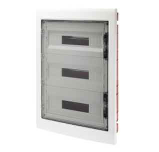 DISTRIBUTION BOARD - PANEL WITH WINDOW AND EXTRACTABLE FRAME - SMOKED DOOR- TERMINAL BLOCK N 2X[(3X16)+(17X10)] E 2X[(3X16)+(17X10)]-(18X3) 54M-IP40